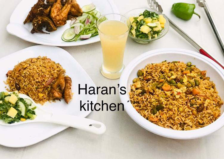 Recipe of Favorite Chinese fried rice with Russian salad and grilled chicken
