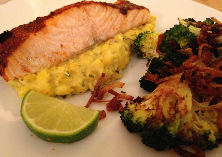 Cajun Salmon and Sweetcorn Puree with Broccoli and Fried Onions