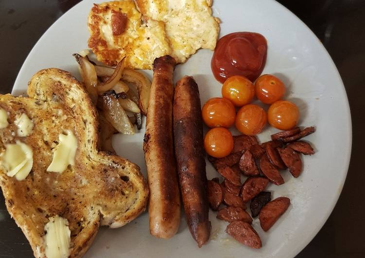 Steps to Make Ultimate My One pan Sausage breakfast 💟