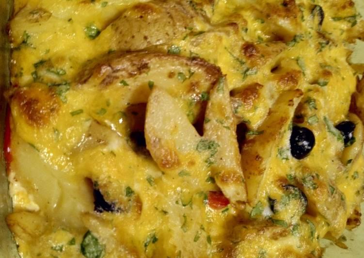 Bratkartoffel-Paprika-Oliven-Gratin