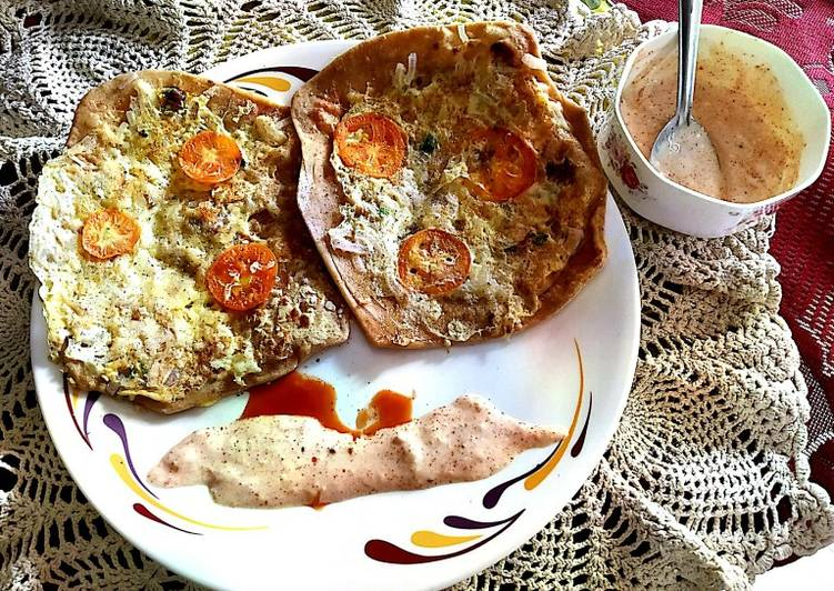Recipe of Speedy Egg Cheese Paratha with curd