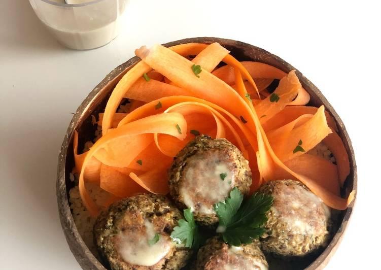 Nos 5 Meilleures Recettes de Boulgour, boulettes de chou-fleur et sauce citron sésame