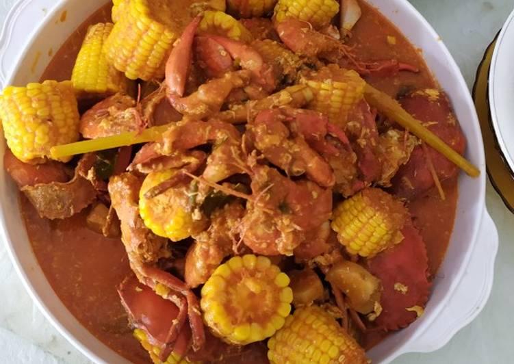 Kepiting & udang saos Padang