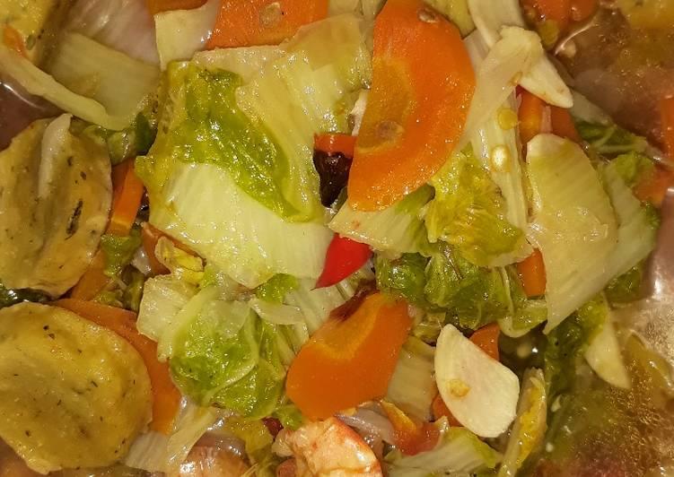 Cah sawi putih wortel bakso udang