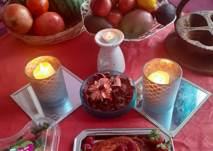 Valentine breakfast ❤❤❤ strawberry jam French toast