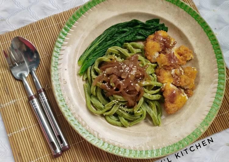 Resep Vegi Mie Ayam Katsu Teriyaki Sederhana