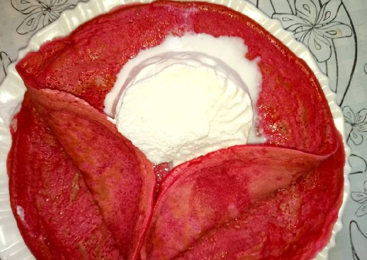 Recipe of Any-night-of-the-week Red velvet pancakes