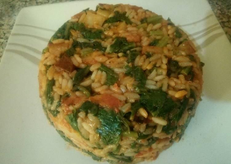 Épinard aux riz et frites