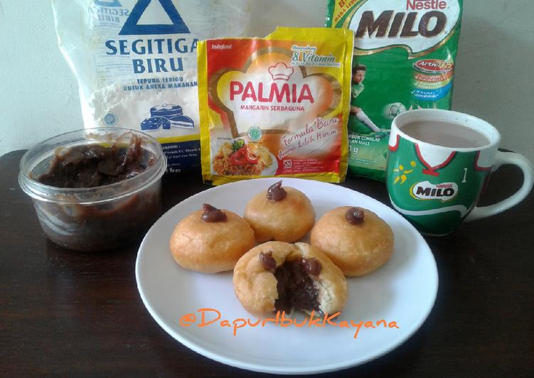 104 Donat Menul (ala Rhinie's Kitchen) Isi Selai Milo Homemade