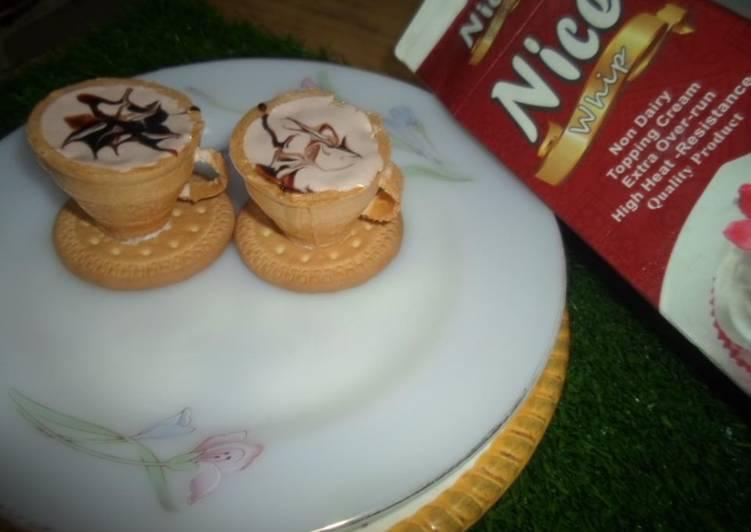 Chocolate ice cream with edible teacups