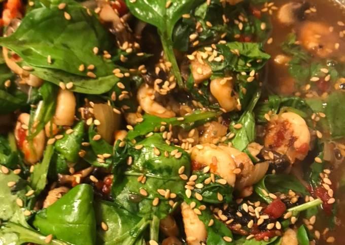 Crevettes épinards à l'asiatique