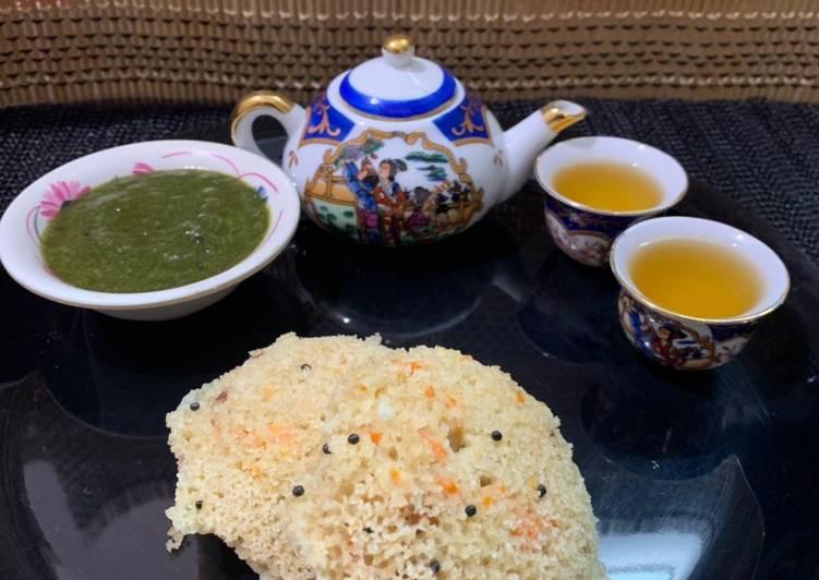 Oats carrot idli with lemon tea