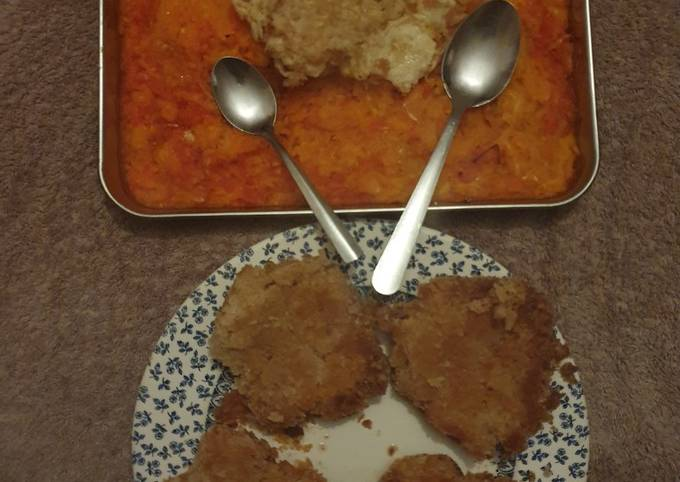 Salmon Fish cakes and baked Peppers