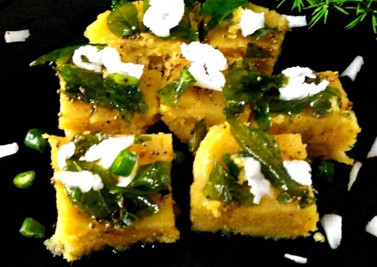 5 Minute Steps to Prepare Love Besan and semolina dhokla without eno