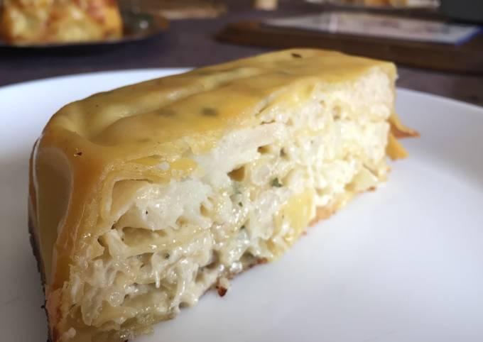 Gâteau lasagne chou-fleur/oignons/fromage à l'ail
