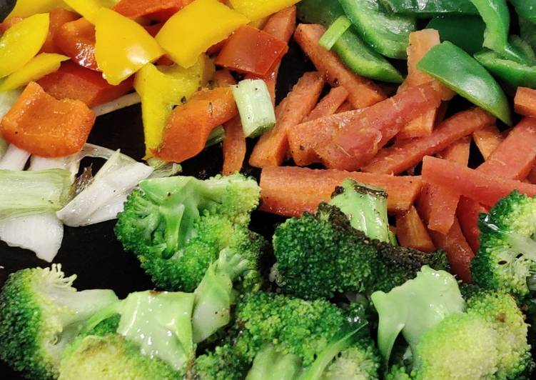 Stir fried veggies served with hard boiled eggs!
