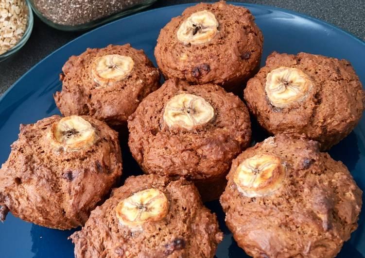 Muffins banane - chocolat - beurre de cacahuète (vegan ?)