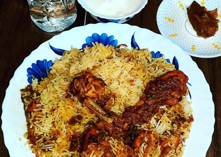 Chicken Biriyani with chicken chap