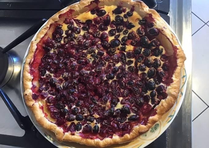 Tarte aux cranberries fraîches et citron jaune de Sicile