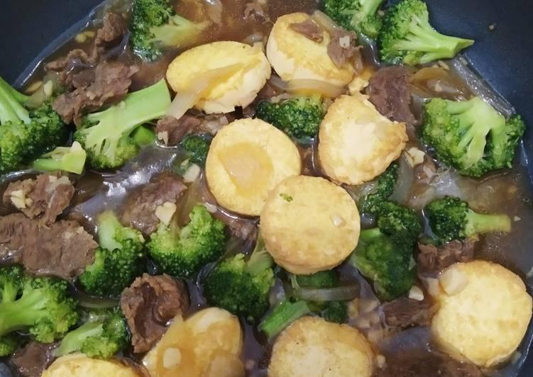 Brokoli tofu sapi saus tiram