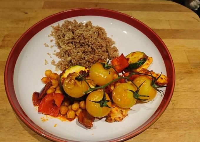 Roasted Harrissa veggies with halloumi and chickpeas