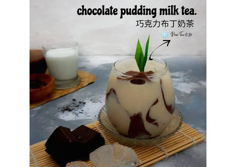 resep cara bikin 208. Chocolate Pudding Milk Tea| 巧克力布丁奶茶