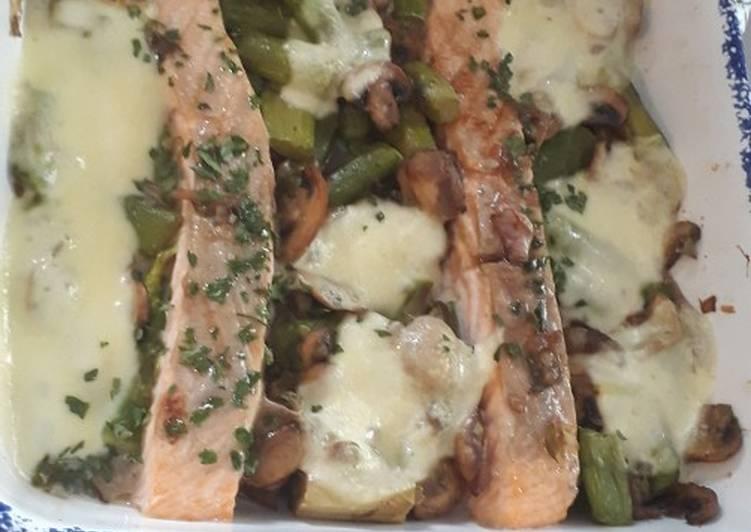 Saumon et son gratin champignon, asperges