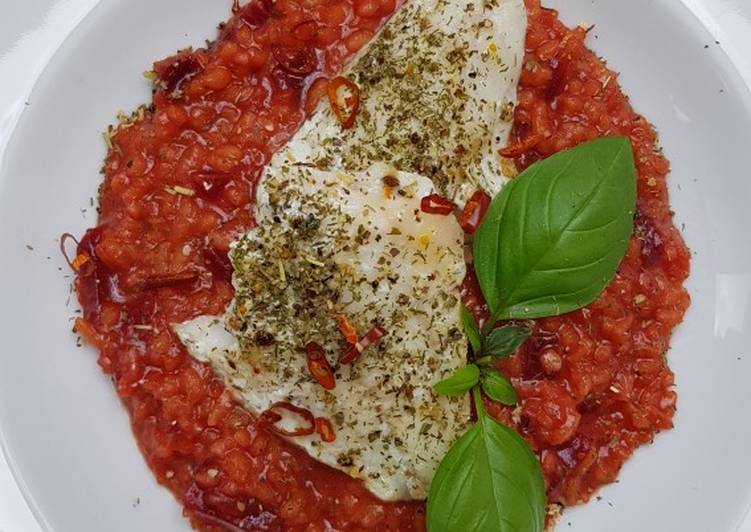 Rote Beete Risotto mit Kabeljau