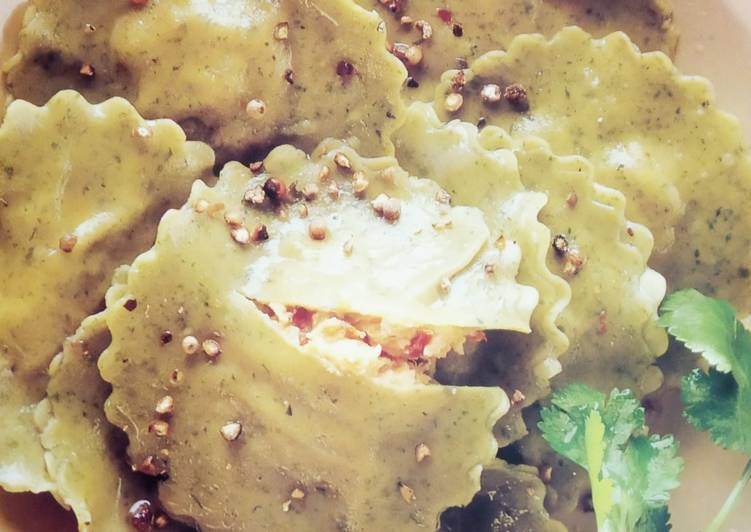 Recipe of Homemade Mint Bottle Gourd Ravioli with Pumpkin and cheese filling