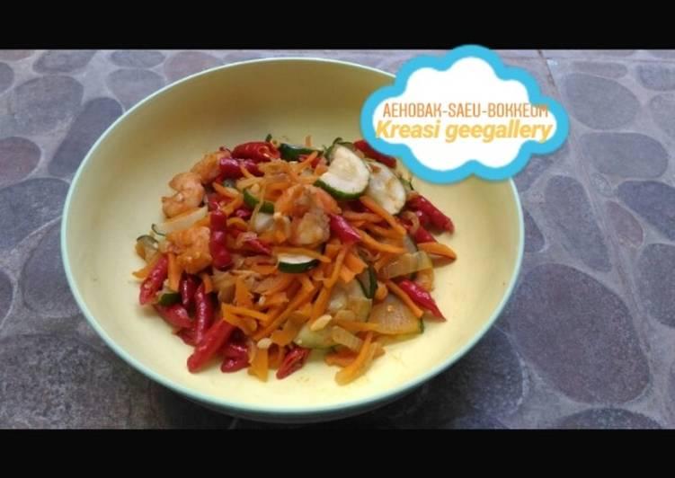 Oseng zucchini udang (sauteed zucchini shrimp/aehobak-saeu-bokkeum)