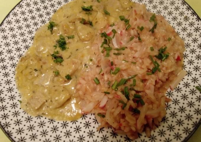 Geschnetzeltes in Zitrus-Sauce mit Radieschen-Risotto