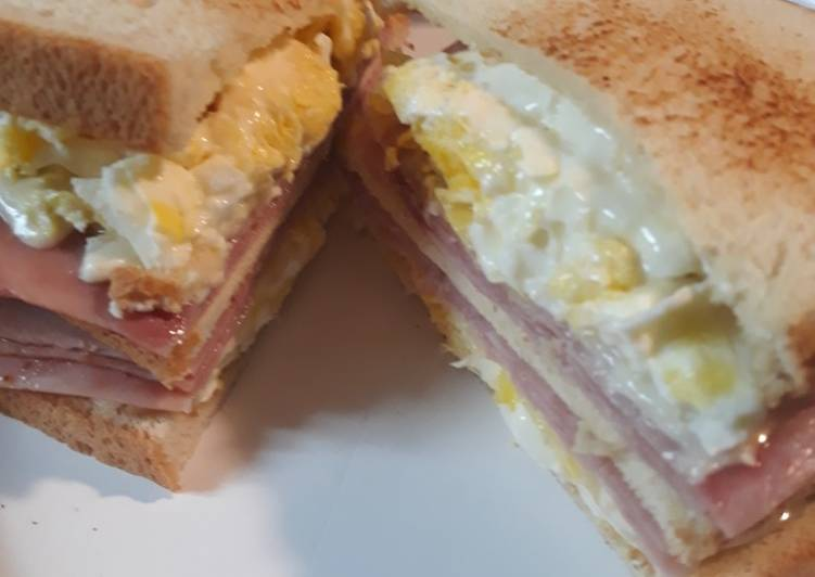 Recipe: Yummy Ham Egg and Swiss on Sourdough
