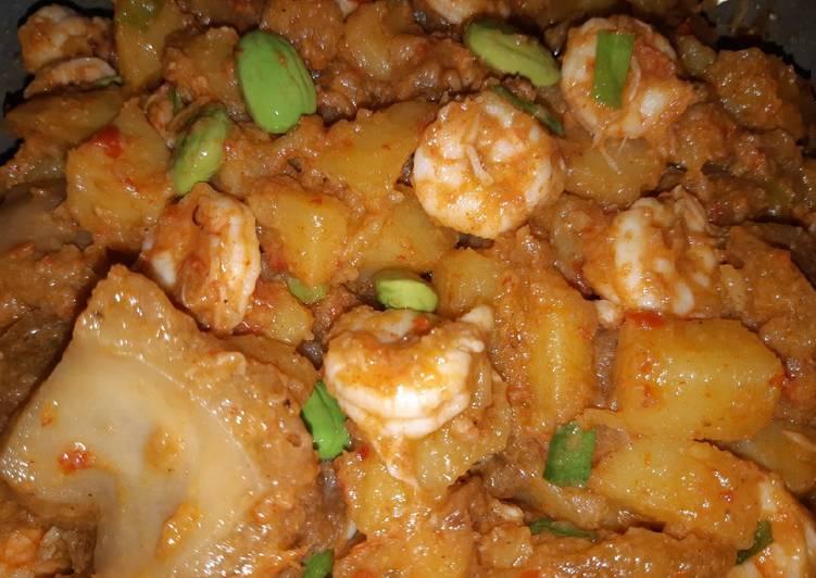 Sambel kentang krecek udang pete