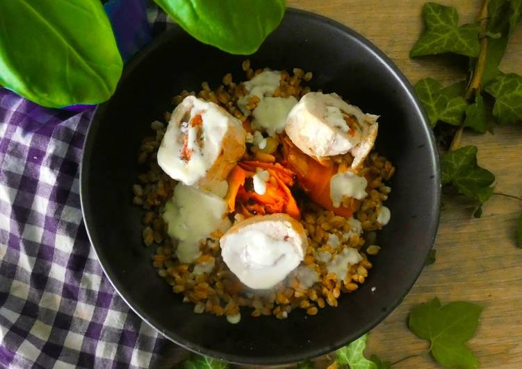 Ballottines de poulet aux tomates séchées basilic et champignon