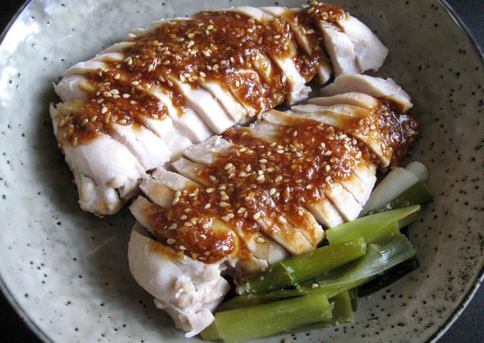 Pan-steamed Chicken Brest with Sweet Garlic Sesame Sauce