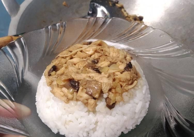 Nasi tim ayam jamur simple, gampang buanget