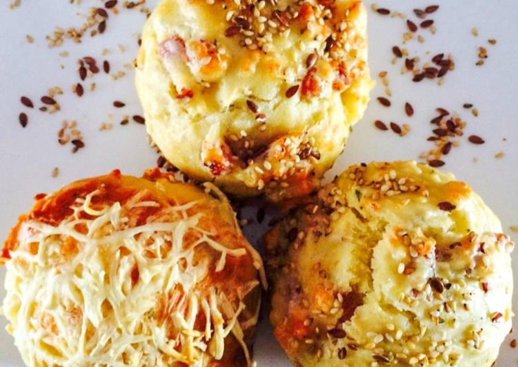Muffins camembert lardons et sésame