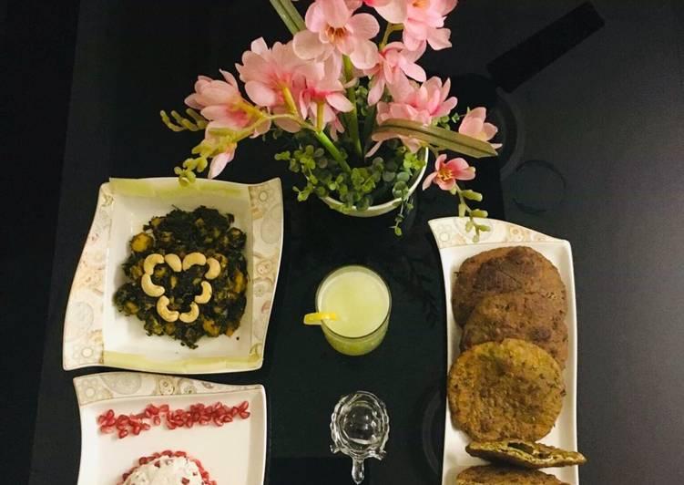 How to Improve Your Mood with Food Kela Methi Nu Shaak(Gujarati dish),Anar Ka Riata,Shahi Poori,Spicy Peanut Chutney,Cucumber Juice
