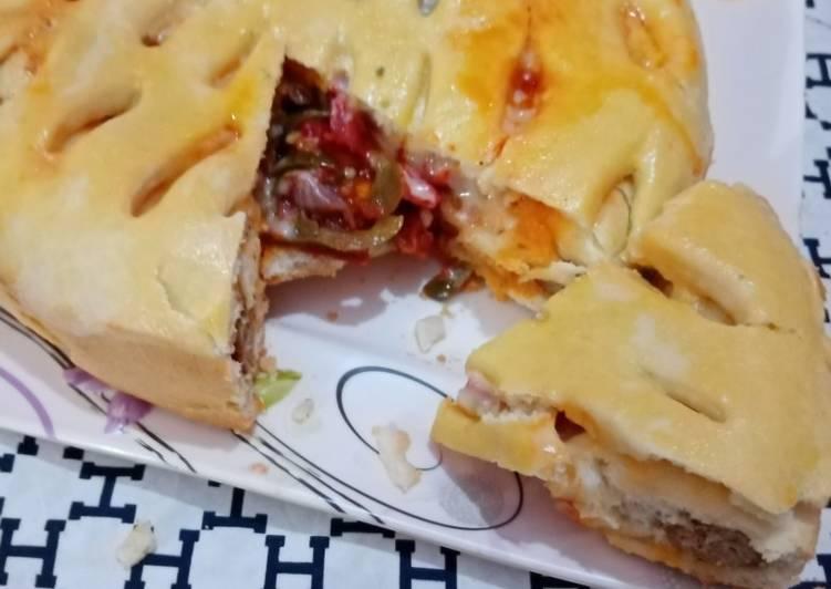 30 Minute How to Prepare Vegan Seekh kabab stuffed pizza pie in pateela 👍👌