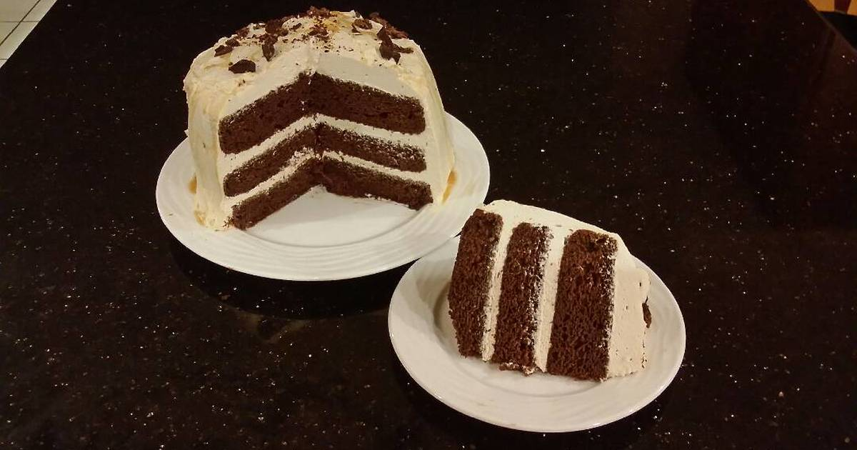 Chocolate Layer Cake With Whipped Salted Caramel Cream Filling and Frosting
