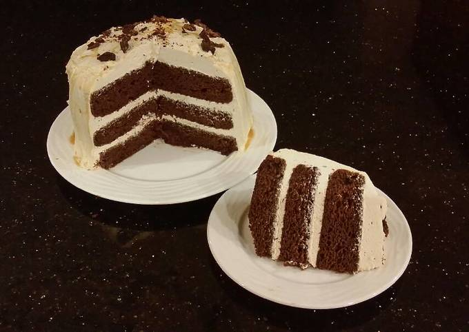 Recipe: Perfect Chocolate Layer Cake With Whipped Salted Caramel Cream Filling and Frosting