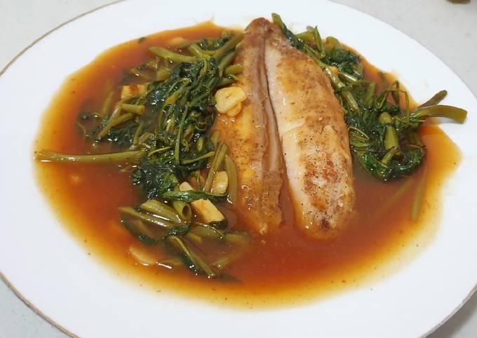 Dory panggang cah kangkung | menu diet | menu ramadhan | Diet