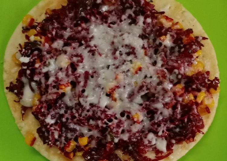 Beetroot corn cheese pizza