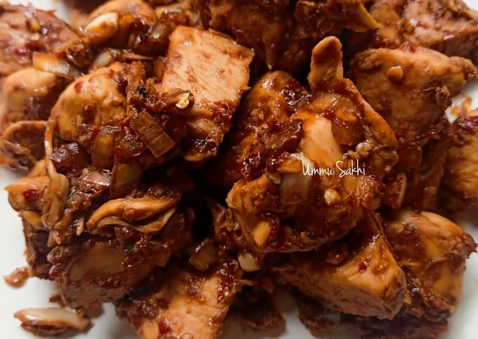 Dada ayam pedas manis (menu defisit kalori) tanpa minyak & gula