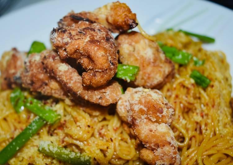 Recipe: Tasty Asian Fusion Pasta with Chicken Popcorn