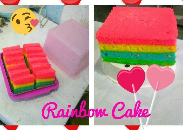 Resep Rainbow cake kukus oleh wiwiq - Cookpad