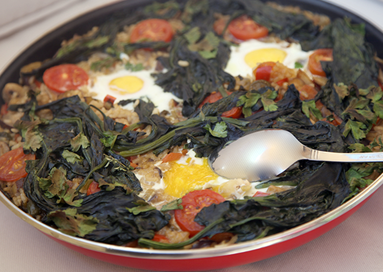 Grandmother's Dinner Ideas Vegan Rice with vegetables, wild mushrooms, eggs and Olive Oil from Spain recipe