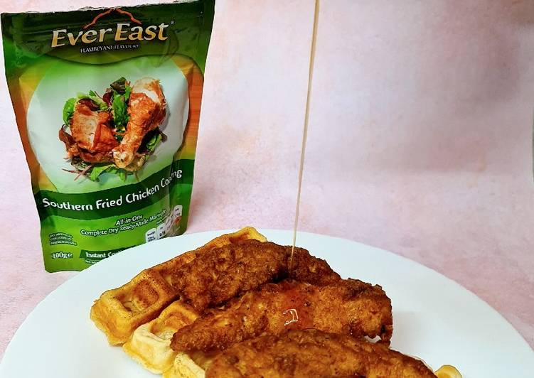 Recipe of Quick Southern Fried Chicken & Waffles 🍗🧇 Drizzled with Maple Syrup