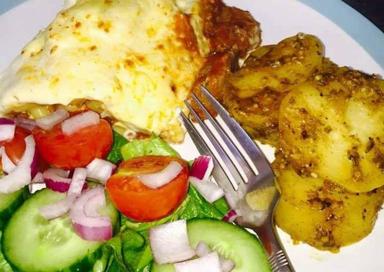Easiest Way to Cook Yummy Beef Lasagne served with slow cooked potatoes #potatoescontest