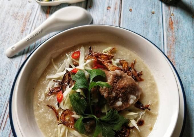 Bubur Nasi Berempah Campur Daging